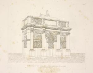 Vue perspective de L'Arc de Triomphe des Tuileries, prise de l'intérieur de la cour.