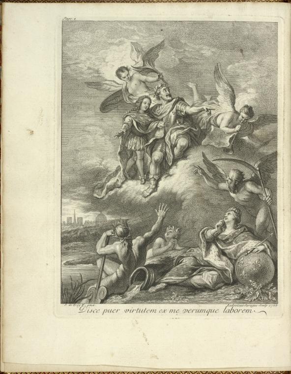 Henri IV donnant du ciel ses instructions à Louis XV. / Disce puer virtutem ex me verumque laborem.