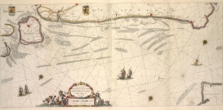 Paskaert van de Zeeusche en Vlaemsche Kusten, tonende alle drooghten, diepten, en ondiepten, tusschen't eylandt Schouwen en de Hoofden.