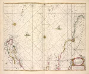 Pascaerte van Vlaemsche, Soute, en Caribesche Eylanden, als mede Terra Nova, en de Custen van Nova Francia, Nova Anglia, Nieu Nederlandt, Venezuela, Nueva Andalusia, Guiana, en een gedeelte van Brazil.