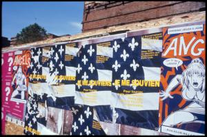 Je me souviens [Never Forget] (Multiple posters overlapping in public)