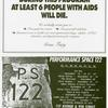 During This Program at Least 6 People with AIDS Will Die (Original ad in the Bessies Award program)