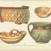 Pottery with varied ornamentation.