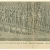 Das römische Heer geht auf einer Schiffbrücke über die Donau.