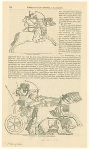 Assyrian horsemen ; Assyrian warriors in a chariot, from Nimroud.