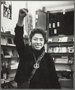 Martha Shelley at the Oscar Wilde Memorial Bookstore, 1969
