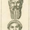 Marble and terra-cotta Roman theatre masks