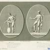 Mercury resting his foot on a terrestrial globe ; Mercury holding the head of a ram