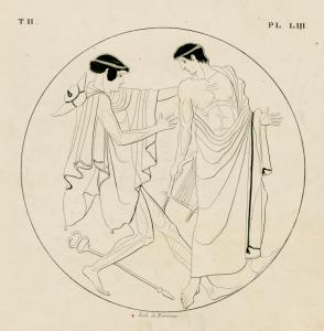 Mercury pursuing Apollo to seize his lyre.
