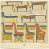 Egyptian beds, chairs and chests