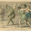 Ein zaghafter Gladiator in den Kampf getrieben.