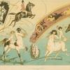 Decorative design with centaurs, cherubs, horses and horseback riders.
