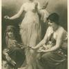 The Three Fates with flowers, thread and shears.