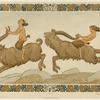 Fauns riding goats.