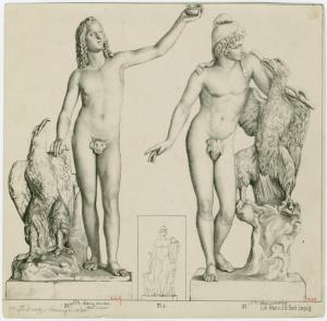 [Statue of Ganymede and the eagle  ;  Statue of Ganymede, wearing the Phrygian cap, with the eagle and barking dog (inset) ; Statue of Ganymede, wearing the Phrygian cap,  embracing the eagle.]