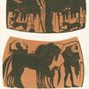 Amphora paintings depicting Athena flanked by two men, and a satyr with horses.