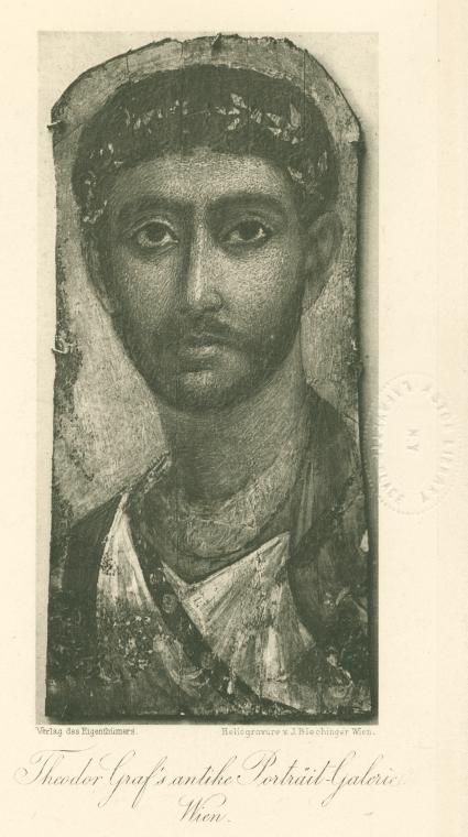 [Mummy portrait of a soldier with sword-belt, from Fayum, Egypt.]