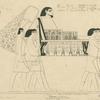 Un personnage égyptien est porté par quatre serviteurs dans un palanquin découvert et richement orné.