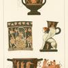 5. Crater--return of Hephaestus to Olympus ; 6. Alcmene on the funeral pyre--painting by Python on a vase from southern Italy ; 7. Vase in the form of a sphinx ; 8. Scyphus or cup--the slaughter of the suitors by Odysseus.