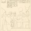 Le roi Horus offre des fleurs au dieu Phré (le soleil) et à la déesse Hathôr.