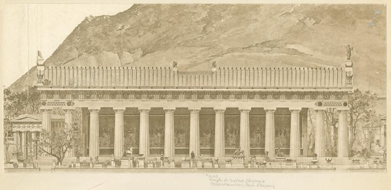 Temple of Jupiter, Olympia, reconstruction, from d'Espouy.