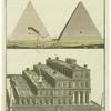 Durchschnitt und Inneres der großen Pyramide ; Die schwebenden Gärten
