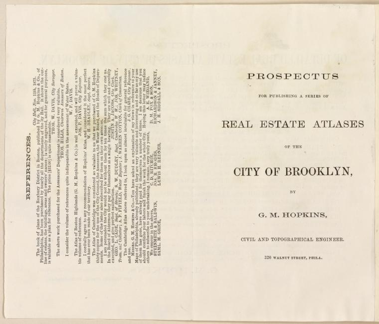 Prospectus For Publishing A Series of Real Estate Atlases of the City of Brooklyn by G.M. Hopkins, Civil and Topographical Engineer. [back]