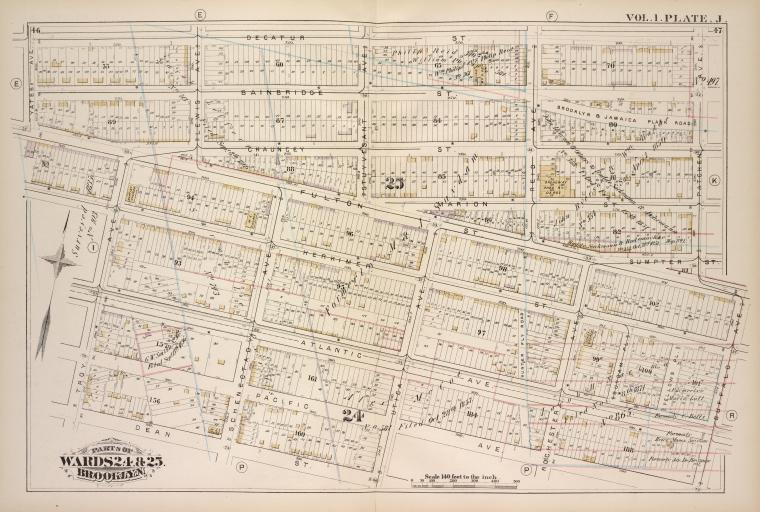 Vol. 1. Plate, J. [Map bound by Decatur St., Patchen Ave., Buffalo Ave., Pacific Ave., Dean St., Troy Ave., Yates Ave.; Including Bainbridge St., Chauncey, Marion St., Sumpter St., Fulton St., Herkimer St., Atlantic Ave., Pacific Ave., Lewis Ave., Schenectady Ave., Stuyvesant Ave., Utica Ave., Reid Ave., Rochester Ave., Suydam Pl., Fellows Pl.]