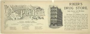 The National Park Bank of New York; Riker's Drug Store.