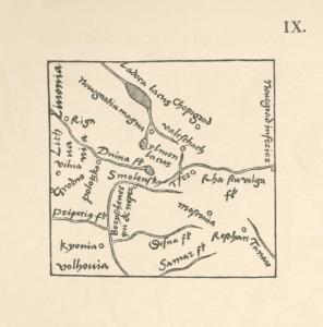 Karta srednei Rossii Seb. Miunstera iz ego izdaniia Polistor'a Solina, Basileae, 1538. Tekst str.6