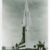 The newest Nike-Hercules Missile is shown here on its launching platform prior to firing at the White Sands Proving Grounds US Army Test Center in New Mexico