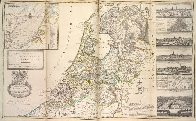 This is What Herman Moll and Netherlands Looked Like  in 1736