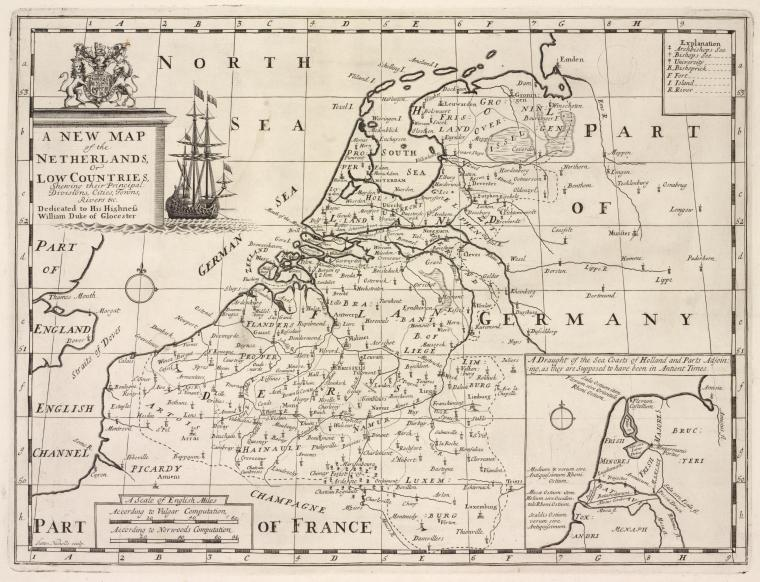 A new map of the Netherlands or Low Countries, shewing their principal divisions, cities, towns, rivers &c.