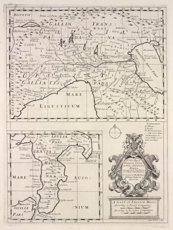 A new map of Gallia Cisalpina & Græcia Magna, shewing their chief divisions, people, cities, towns &c.
