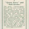 """Green stars"" and ""half-bricks."""