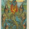 [Krishna, Kaliya, and Kaliya's wives.]