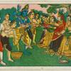 [Krishna teasing the Gopis with butter and curds.]