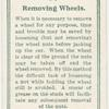 Removing wheels.