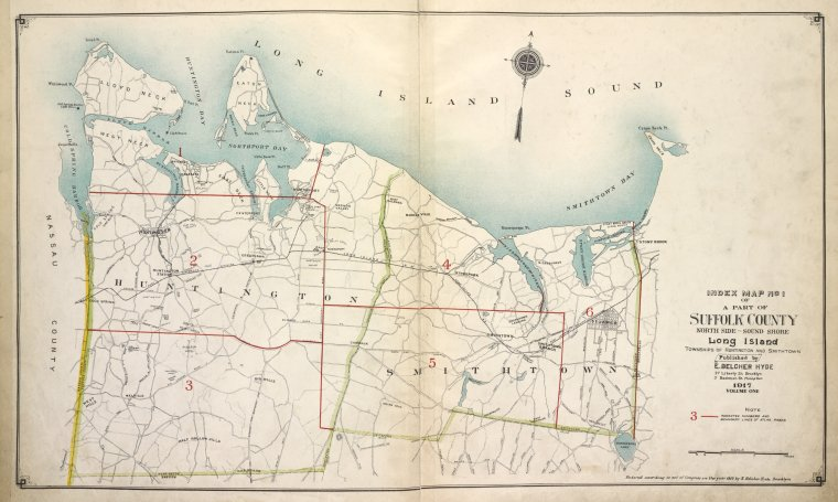 Index Map No. 1 of a part of Suffolk County. North Side - Sound Shore, Long Island. Huntington and Smith Town. Published by E. Belcher Hyde. 97 Liberty Street, Brooklyn. 5 Beekman Street, Manhattan. 1917. Volume One.