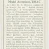 Henson and Stringfellow's model aeroplane, 1843-7.