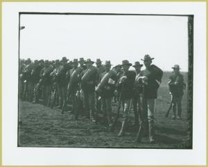 [Soliders lined up at Camp Black, Long Island, New York]