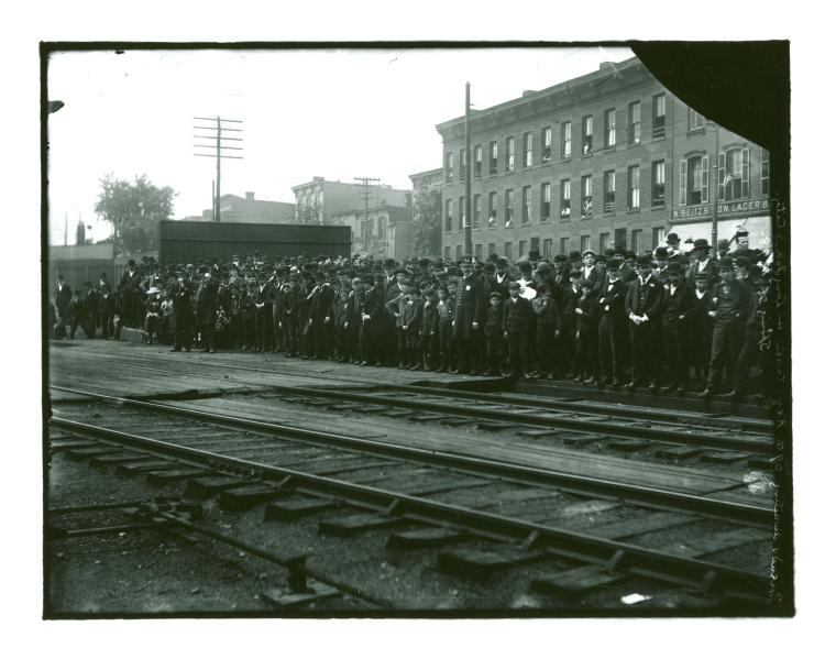 [Train coming into the station at Camp Black, Long Island, New York]