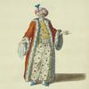 Habit of the grand seignior or emperor of the Turks in 1700. Le grand seignior.