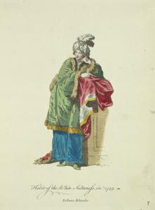 Habit of the white sultaness in 1749. Sultane blanche.