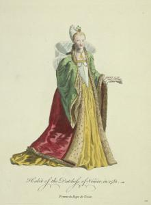 Habit of the dutchess of Venice in 1581. Femme du doge de Venise.