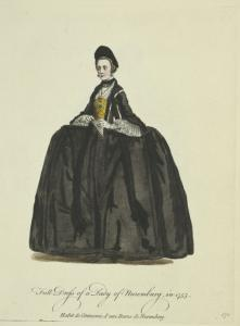 Full dress of a lady of Nuremburg in 1755. Habit de cérémonie d'une dame de Nuremberg.