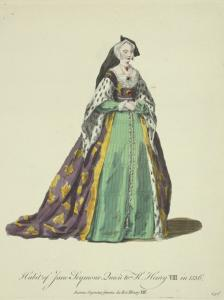 Habit of Jane Seymour queen to K[ing] Henry VIII in 1536. Jeanne Seymour femme du Roi Henry VIII.