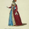 Habit of a noble matron of England in 1577. Noble matrone d'Angleterre.