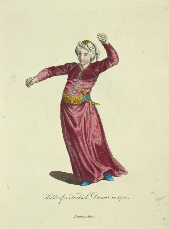 This is What Charles Ferriol and Habit of a Turkish dancer in 1700. Danceur Turc Looked Like  in 1757