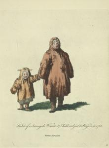 Habit of a Samoyede woman and child subject to Russia in 1768. Femme Samoyèd.